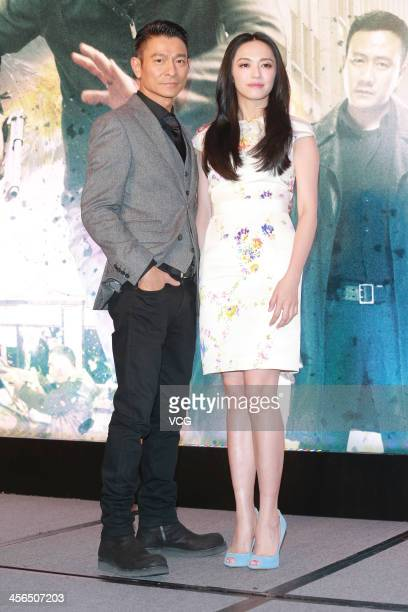 Actor Andy Lau and actress Yao Chen attend 'Firestorm' press conference at the Venetian Macao during the 56th AsiaPacific Film Festival on December...