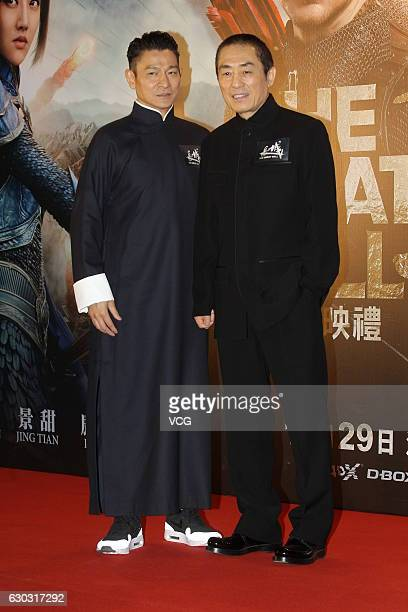 Actor Andy Lau and director Zhang Yimou attend the premiere of director Zhang Yimou's film 'The Great Wall' on December 20 2016 in Hong Kong China