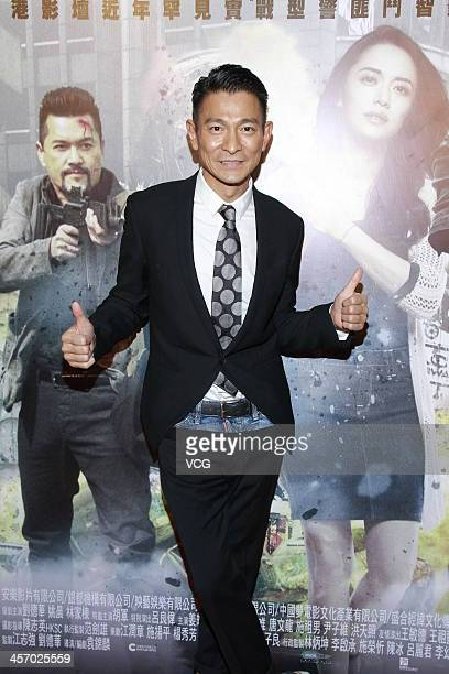 Actor Andy Lau attends 'Firestorm' press conference at Discovery Park Shopping Centre on December 15 2013 in Hong Kong Hong Kong