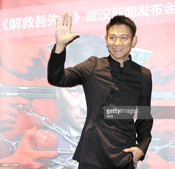 Actor Andy Lau attends the press conference for director Ding Sheng's film 'Saving Mr Wu' on September 23 2015 in Wuhan Hubei Province of China