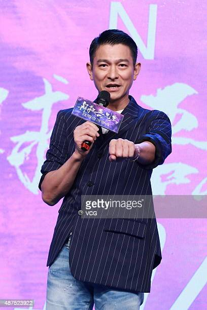 Actor Andy Lau attends the press conference of director Ding Sheng's film 'Saving Mr Wu' on September 10 2015 in Beijing China