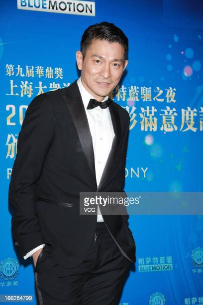 Actor Andy Lau poses backstage during 2013 Huading Awards Ceremony at Kowloonbay International Trade and Exhibition Centre on April 10 2013 in Hong...
