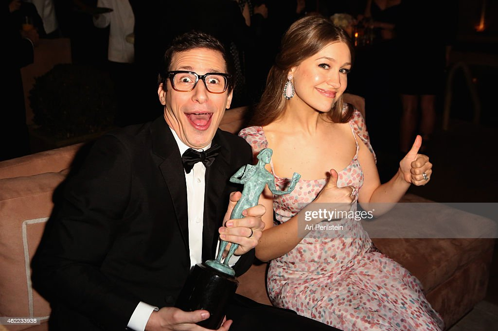 Actor Andy Samberg and actress Joanna Newsom (R) attend The Weinstein Company & Netflix's 2015 SAG After Party In Partnership With Laura Mercier at Sunset Tower on January 25, 2015 in West Hollywood, California.
