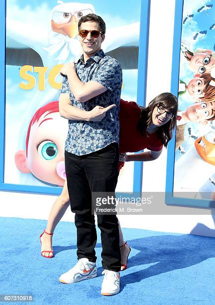 Actor Andy Samberg and actress Katie Crown arrive at the premiere of Warner Bros Pictures' 'Storks' at Regency Village Theatre on September 17 2016...