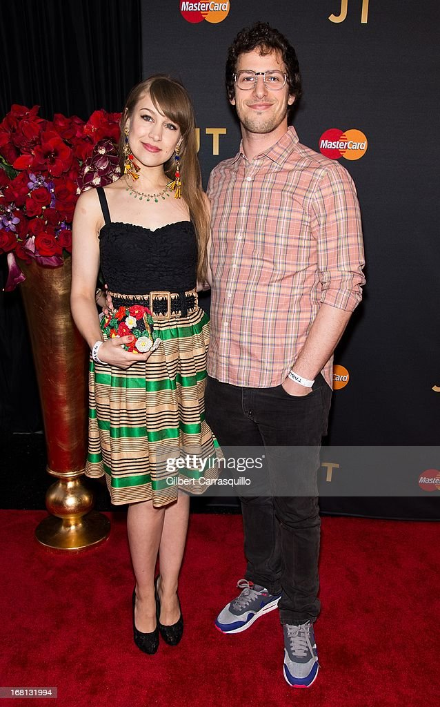 Actor Andy Samberg (R) and his fiance, musician Joanna Newsom attend MasterCard Priceless premieres presents Justin Timberlake at Roseland Ballroom on May 5, 2013 in New York City.