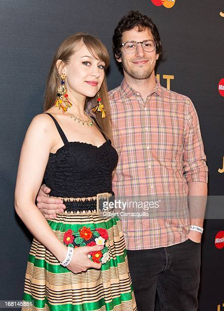 Actor Andy Samberg and his fiance musician Joanna Newsom attend MasterCard Priceless premieres presents Justin Timberlake at Roseland Ballroom on May...