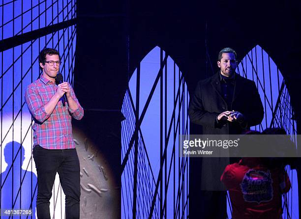 Actor Andy Samberg and magician David Blaine speak onstage during Nickelodeon's 27th Annual Kids' Choice Awards held at USC Galen Center on March 29...