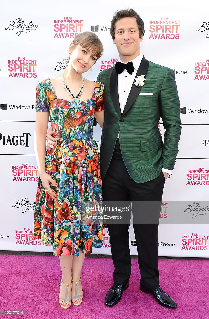 Actor <a gi-track='captionPersonalityLinkClicked' href=/galleries/search?phrase=Andy+Samberg&family=editorial&specificpeople=595651 ng-click='$event.stopPropagation()'>Andy Samberg</a> (R) and singer <a gi-track='captionPersonalityLinkClicked' href=/galleries/search?phrase=Joanna+Newsom&family=editorial&specificpeople=4184073 ng-click='$event.stopPropagation()'>Joanna Newsom</a> attend the 2013 Film Independent Spirit Awards after party at The Bungalow at The Fairmont Hotel on February 23, 2013 in Santa Monica, California.