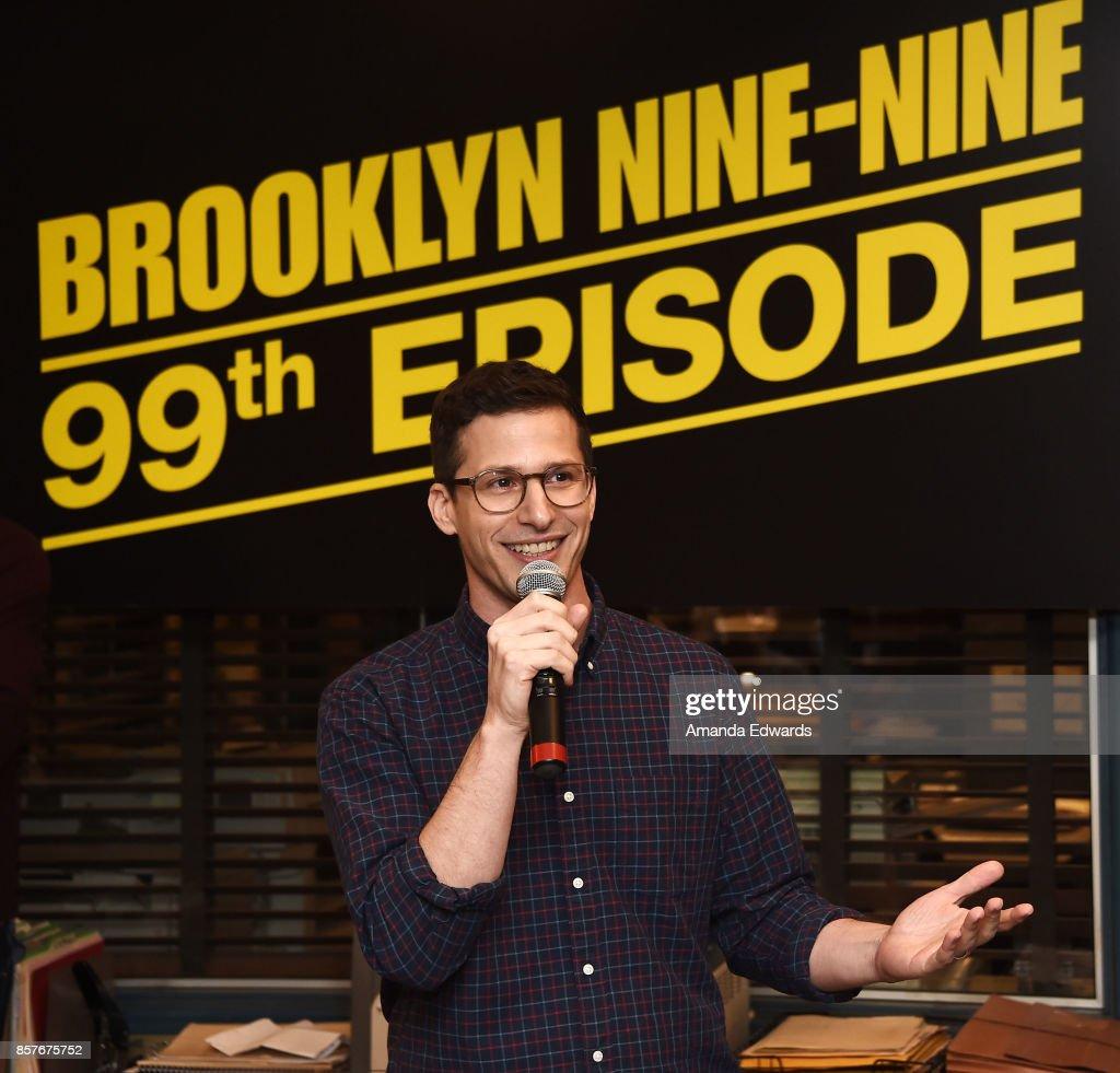 Actor Andy Samberg attends Fox's 'Brooklyn Nine-Nine' 99th Episode celebration at CBS Studio Center on October 4, 2017 in Studio City, California.