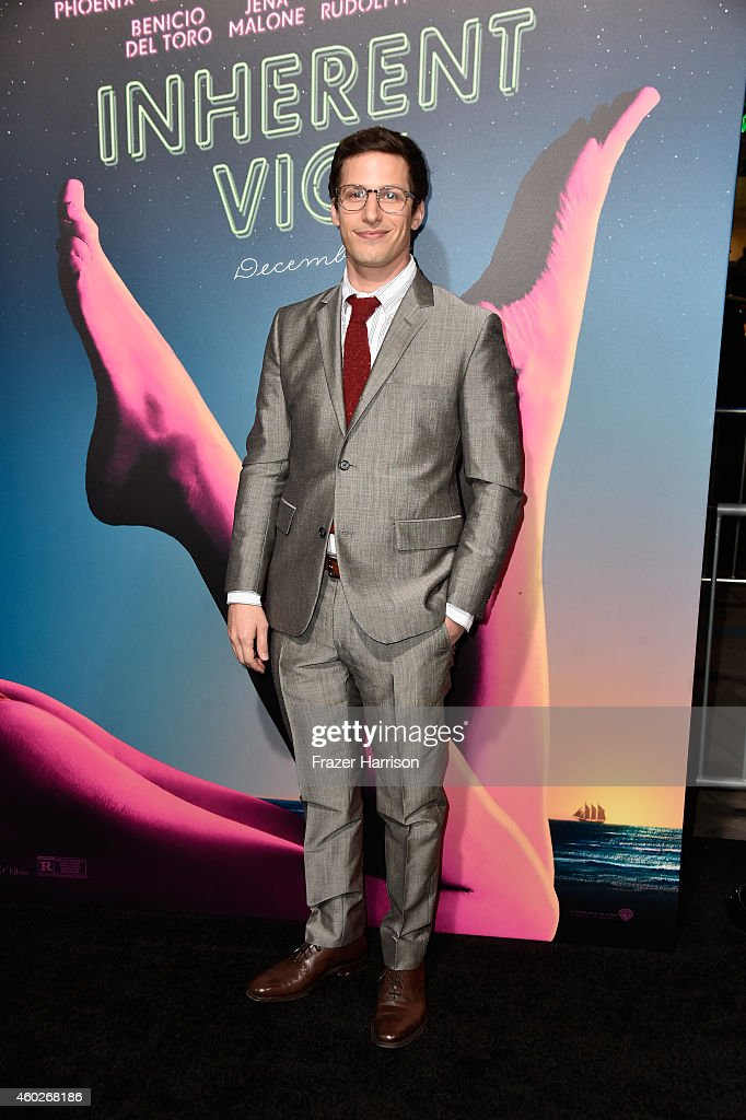 Actor <a gi-track='captionPersonalityLinkClicked' href=/galleries/search?phrase=Andy+Samberg&family=editorial&specificpeople=595651 ng-click='$event.stopPropagation()'>Andy Samberg</a> attends the premiere of Warner Bros. Pictures' 'Inherent Vice' at TCL Chinese Theatre on December 10, 2014 in Hollywood, California.
