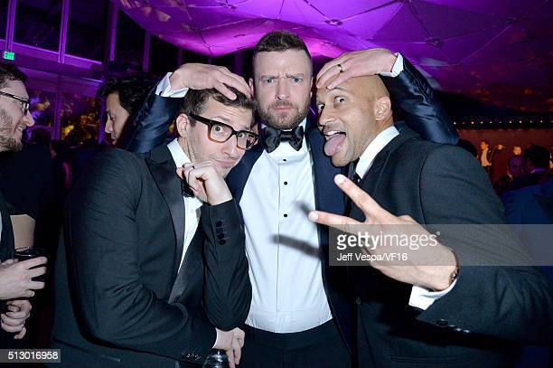 Actor Andy Samberg recording artist Justin Timberlake and actor KeeganMichael Key attend the 2016 Vanity Fair Oscar Party Hosted By Graydon Carter at...