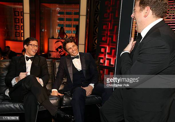 Actor Andy Samberg roastee James Franco and actor Jonah Hill onstage during The Comedy Central Roast of James Franco at Culver Studios on August 25...