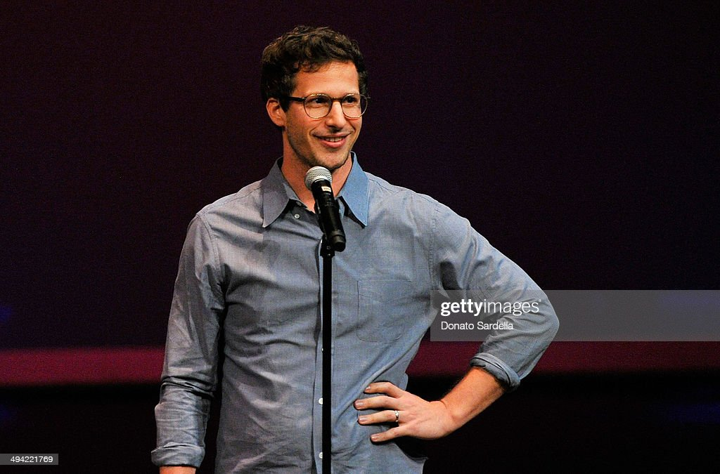 Actor <a gi-track='captionPersonalityLinkClicked' href=/galleries/search?phrase=Andy+Samberg&family=editorial&specificpeople=595651 ng-click='$event.stopPropagation()'>Andy Samberg</a> speaks onstage at the first annual Poetic Justice Fundraiser for the Coalition For Engaged Education at the Herb Alpert Educational Village on May 28, 2014 in Santa Monica, California.