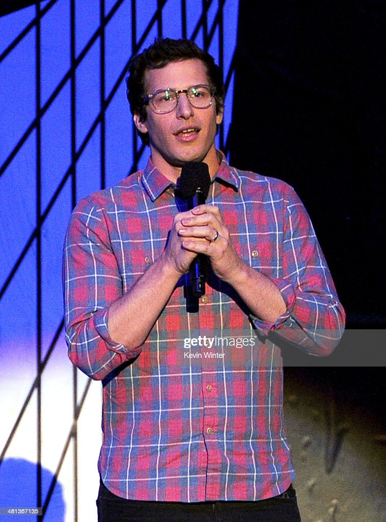 Actor <a gi-track='captionPersonalityLinkClicked' href=/galleries/search?phrase=Andy+Samberg&family=editorial&specificpeople=595651 ng-click='$event.stopPropagation()'>Andy Samberg</a> speaks onstage during Nickelodeon's 27th Annual Kids' Choice Awards held at USC Galen Center on March 29, 2014 in Los Angeles, California.