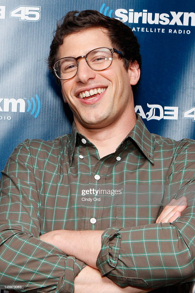"""Actor <a gi-track='captionPersonalityLinkClicked' href=/galleries/search?phrase=Andy+Samberg&family=editorial&specificpeople=595651 ng-click='$event.stopPropagation()'>Andy Samberg</a> visits """"Sway in the Morning"""" on Eminem's Shade 45 channel at the SiriusXM Studio on June 8, 2012 in New York City."""