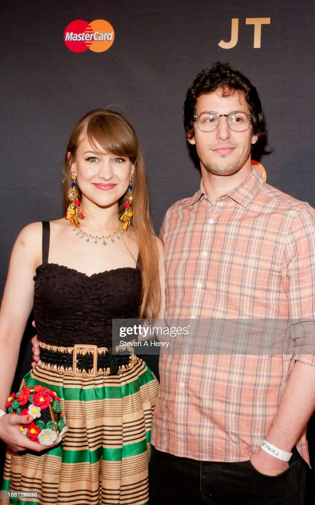 Actor Andy Sandberg (R) and his fiance <a gi-track='captionPersonalityLinkClicked' href=/galleries/search?phrase=Joanna+Newsom&family=editorial&specificpeople=4184073 ng-click='$event.stopPropagation()'>Joanna Newsom</a> at MasterCard Priceless Premieres Presents Justin Timberlake Roseland Ballroom on May 5, 2013 in New York City.