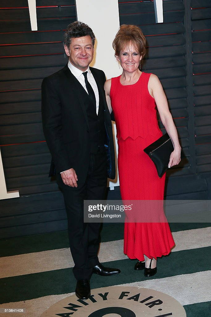 Actor Andy Serkis (L) and actress Lorraine Ashbourne arrive at the 2016 Vanity Fair Oscar Party Hosted by Graydon Carter at the Wallis Annenberg Center for the Performing Arts on February 28, 2016 in Beverly Hills, California.