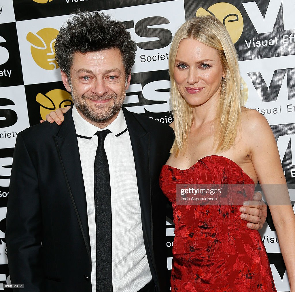 Actor <a gi-track='captionPersonalityLinkClicked' href=/galleries/search?phrase=Andy+Serkis&family=editorial&specificpeople=210893 ng-click='$event.stopPropagation()'>Andy Serkis</a> (L) and actress <a gi-track='captionPersonalityLinkClicked' href=/galleries/search?phrase=Naomi+Watts&family=editorial&specificpeople=171723 ng-click='$event.stopPropagation()'>Naomi Watts</a> pose backstage at the 11th Annual Visual Effects Society Awards at The Beverly Hilton Hotel on February 5, 2013 in Beverly Hills, California.