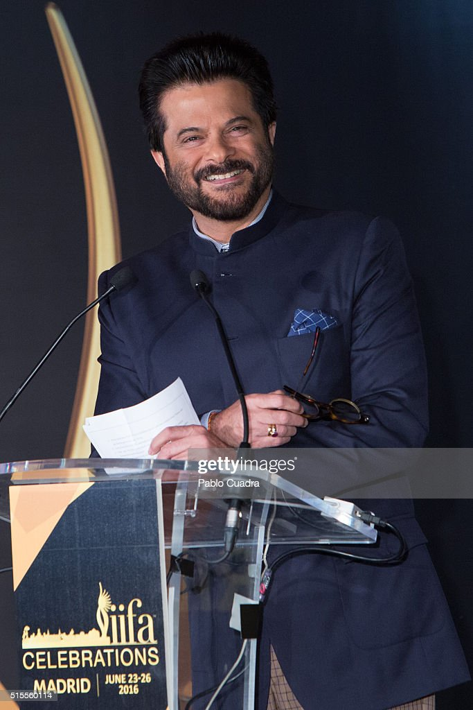 Actor <a gi-track='captionPersonalityLinkClicked' href=/galleries/search?phrase=Anil+Kapoor&family=editorial&specificpeople=563857 ng-click='$event.stopPropagation()'>Anil Kapoor</a> attends the 17th International Indian Film Academy (IIFA) awards press conference at the Retiro Park on March 14, 2016 in Madrid, Spain