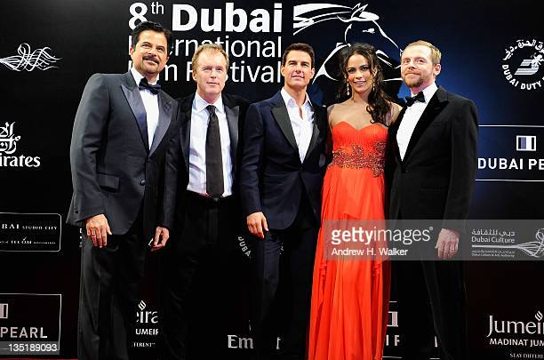 Actor Anil Kapoor director Brad Bird and actors Tom Cruise Paula Patton and Simon Pegg attend the 'Mission Impossible Ghost Protocol' Premiere during...