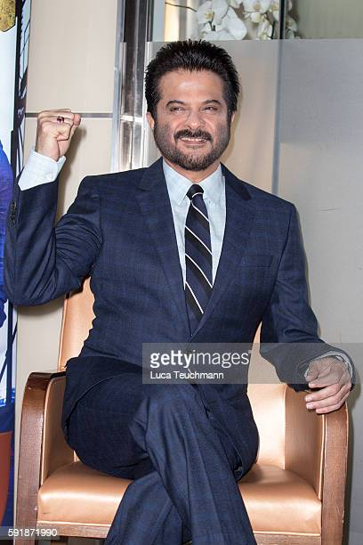Actor Anil Kapoor poses at a photocall for TV series '24' at The Montcalm Hotel on August 18 2016 in London England