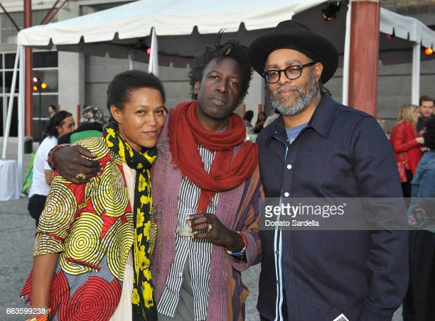 Actor Anisia Uzeyman singersongwriter Saul Williams and artist Arthur Jafa attend MOCA's Leadership Circle and Members' Opening of 'Carl Andre...