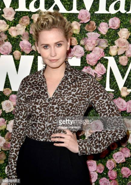 Actor Anna Bamford wearing Max Mara at Max Mara Celebrates Zoey Deutch The 2017 Women In Film Max Mara Face of the Future at Chateau Marmont on June...