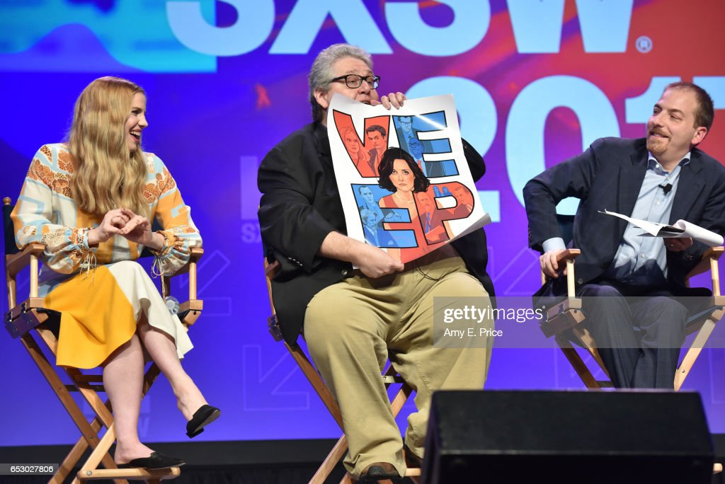 Actor Anna Chlumsky, filmmaker David Mandel, and SXSW moderator Chuck Todd speak onstage at 'Featured Session: 'VEEP' Cast' during 2017 SXSW Conference and Festivals at Austin Convention Center on March 13, 2017 in Austin, Texas.