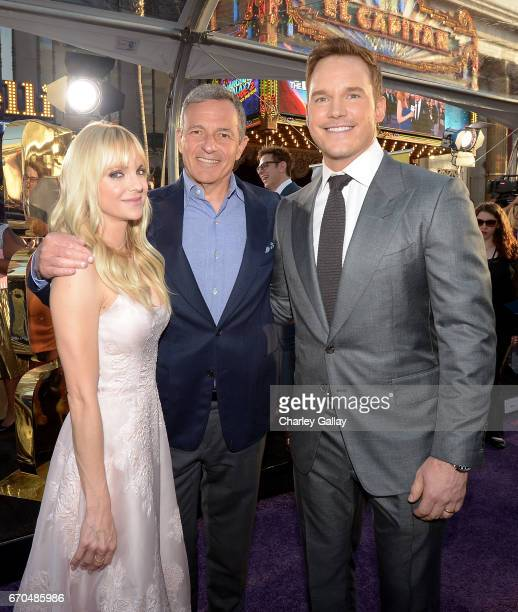 "Actor Anna Faris Chief Executive Officer of Disney Bob Iger and actor Chris Pratt at The World Premiere of Marvel Studios' ""Guardians of the Galaxy..."