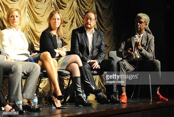 Actor Anna Gunn executive producer Anya Epstein executive producer Chris Chibnall and Film Independent curator Elvis Mitchell attend the Film...