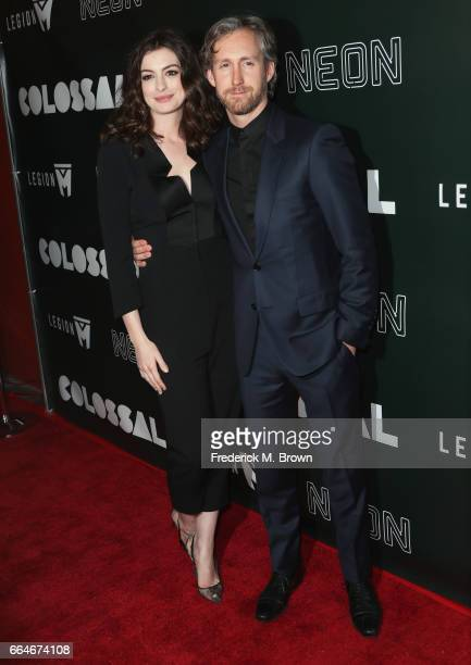 Actor Anne Hathaway and Adam Shulman attend the Premiere Of Neon's 'Colossal' at the Vista Theatre on April 4 2017 in Los Angeles California