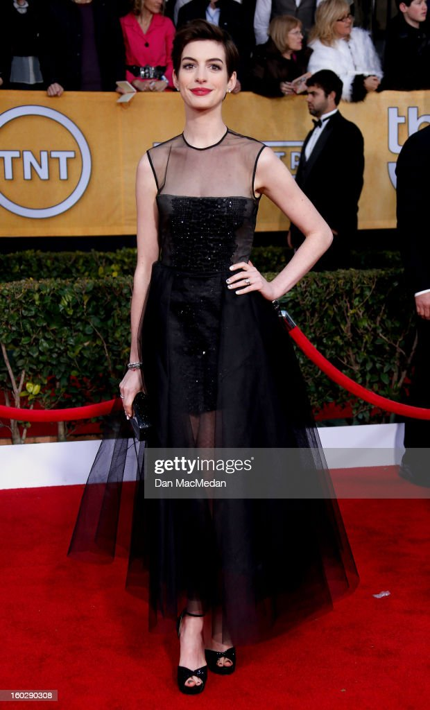 Actor Anne Hathaway arrives at the 19th Annual Screen Actors Guild Awards at the Shrine Auditorium on January 27, 2013 in Los Angeles, California.