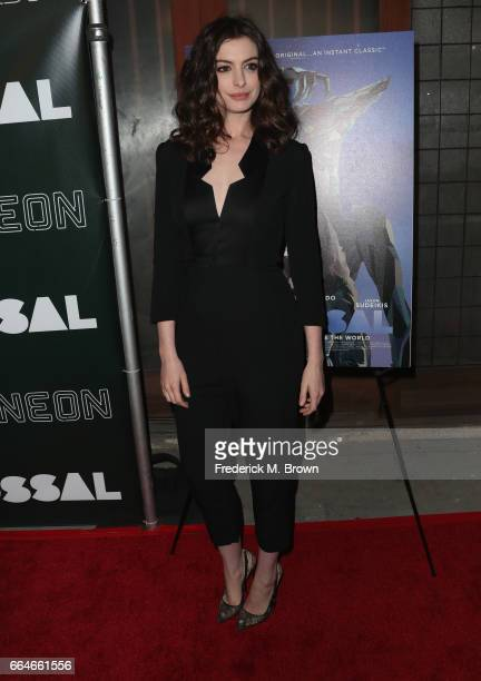 Actor Anne Hathaway attends the Premiere Of Neon's 'Colossal' at the Vista Theatre on April 4 2017 in Los Angeles California