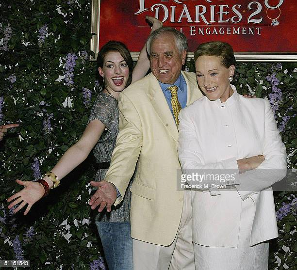Actor Anne Hathaway director Garry Marshall and actor Julie Andrews attend the film premiere of 'The Princess Diaries 2 Royal Engagement' at...
