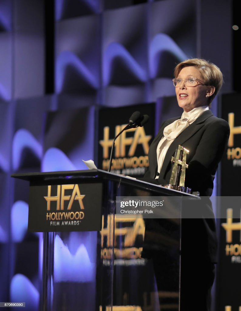 Actor Annette Bening speaks onstage during the 21st Annual Hollywood Film Awards at The Beverly Hilton Hotel on November 5, 2017 in Beverly Hills, California.