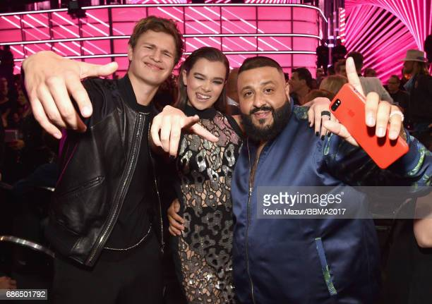 Actor Ansel Elgort actor/recording artist Hailee Steinfeld and record producer DJ Khaled attend the 2017 Billboard Music Awards at TMobile Arena on...