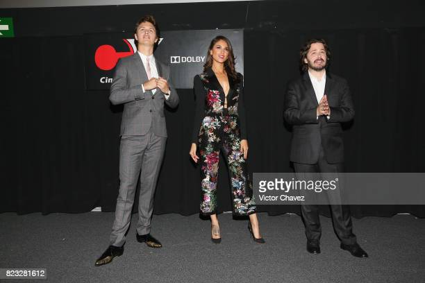 Actor Ansel Elgort actress Eiza Gonzalez and Film director Edgar Wright attend the 'Baby Driver' Mexico City premier at Cinemex Antara Polanco on...