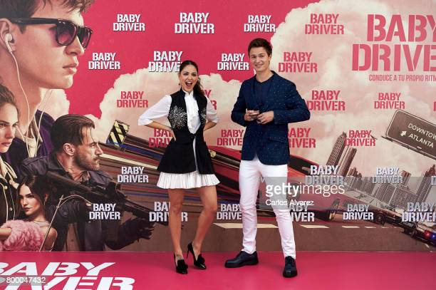 Actor Ansel Elgort and actress Eiza Gonzalez attend 'Baby Driver' photocall at the Villamagna Hotel on June 23 2017 in Madrid Spain