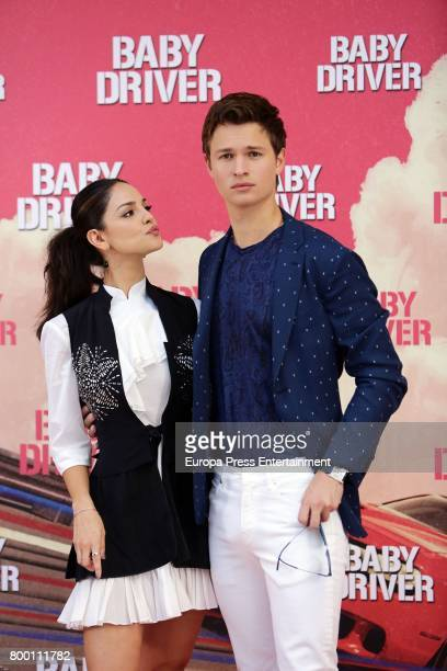 Actor Ansel Elgort and actress Eiza Gonzalez attend 'Baby Driver' photocall at Villa Magna hotel on June 23 2017 in Madrid Spain