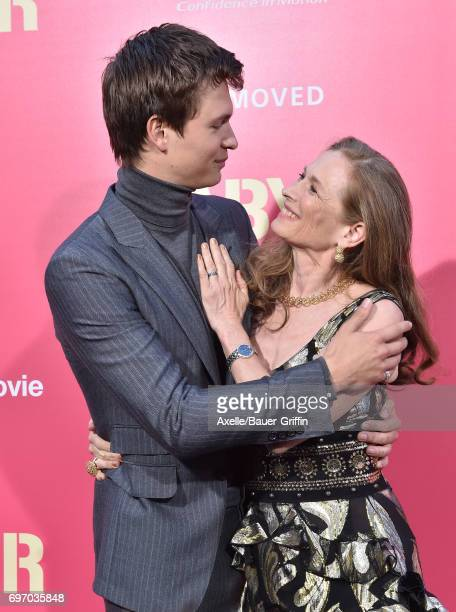 Actor Ansel Elgort and mom Grethe Barrett Holby arrive at the premiere of 'Baby Driver' at Ace Hotel on June 14 2017 in Los Angeles California