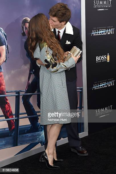Actor Ansel Elgort and Violetta Komyshan attend the New York premiere of 'Allegiant' at the AMC Lincoln Square Theater on March 14 2016 in New York...