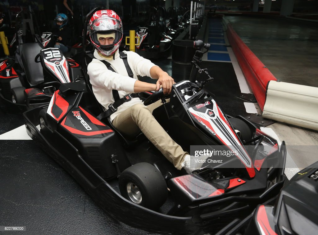 Actor Ansel Elgort attends a go kart race to promote the film 'Baby Driver' at K1 Speed Santa Fe on July 25, 2017 in Mexico City, Mexico.