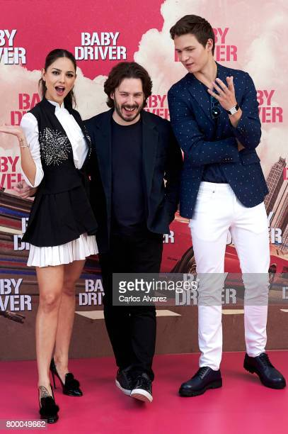 Actor Ansel Elgort director Edgar Wright and actress Eiza Gonzalez attend 'Baby Driver' photocall at the Villamagna Hotel on June 23 2017 in Madrid...