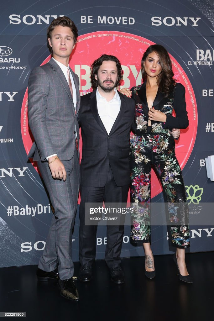Actor Ansel Elgort, film director Edgar Wright and actress Eiza Gonzalez attend the 'Baby Driver' Mexico City premier at Cinemex Antara Polanco on July 26, 2017 in Mexico City, Mexico.