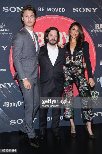 Actor Ansel Elgort film director Edgar Wright and actress Eiza Gonzalez attend the 'Baby Driver' Mexico City premier at Cinemex Antara Polanco on...