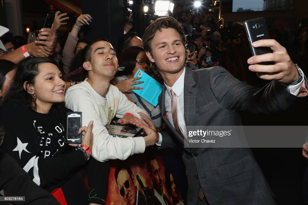 Actor Ansel Elgort signs autographs and takes selfies with fans during the 'Baby Driver' Mexico City premier at Cinemex Antara Polanco on July 26, 2017 in Mexico City, Mexico.