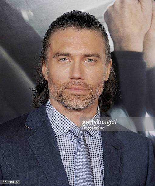 Actor Anson Mount arrives at the Los Angeles premiere of 'NonStop' at Regency Village Theatre on February 24 2014 in Westwood California