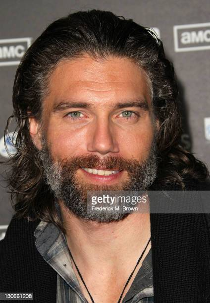 Actor Anson Mount attends the premiere of AMC's 'Hell on Wheels' at LA Live on October 27 2011 in Los Angeles California