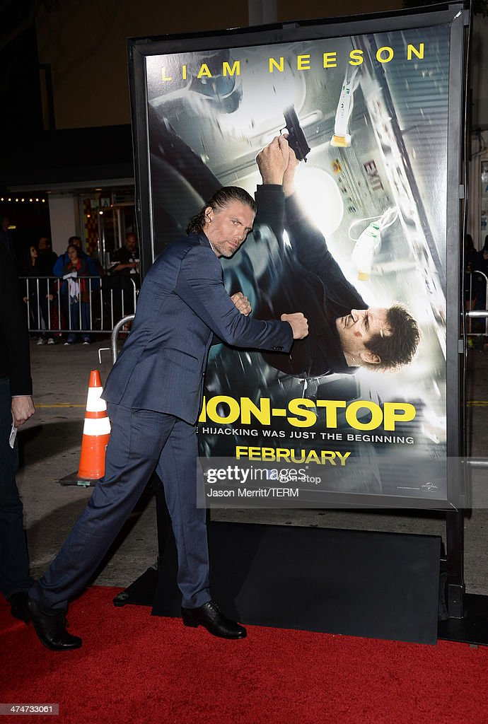 Actor <a gi-track='captionPersonalityLinkClicked' href=/galleries/search?phrase=Anson+Mount&family=editorial&specificpeople=691952 ng-click='$event.stopPropagation()'>Anson Mount</a> attends the premiere of Universal Pictures and Studiocanal's 'Non-Stop' at Regency Village Theatre on February 24, 2014 in Westwood, California.