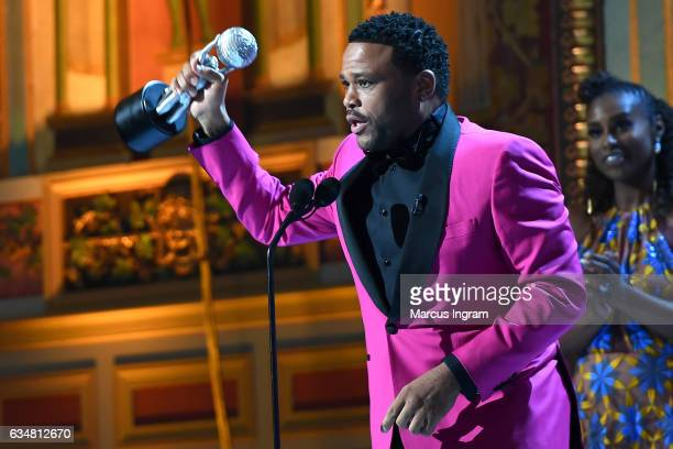 Actor Anthony Anderson accepts award for Outstanding Actor in a Comedy Series 'Blackish' onstage at the 48th NAACP Image Awards at Pasadena Civic...